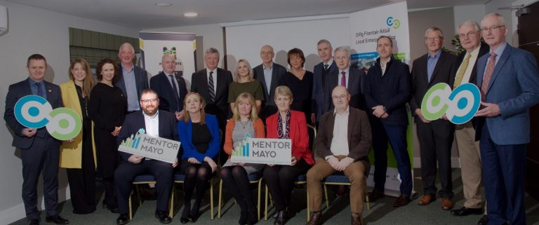 MentorMayo Launch Photo From left to right, back row: John Magee, Head of Enterprise, Mayo County Council; Olive O'Connor; Catherine McConnell, Director of Services, Mayo County Council; John Horkan; Peter Hynes, Chief Executive, Mayo County Council; Pat O'Connor; Pam Finn; Peter Glynn; Maureen O'Malley; Martin Gillen; Tom Murphy; Damien Cashin; Tom Canavan; Dom Molloy; John Caulfield. From left to right, front row: Alastair McDermott WebsiteDoctor; Aisling Roche; Paula McNicholas; Mary King; John Caulfield. Photo: Alison Laredo